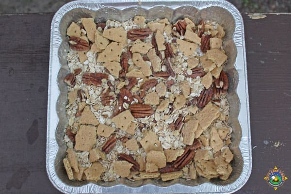 dry ingredients mixed in a foil pan