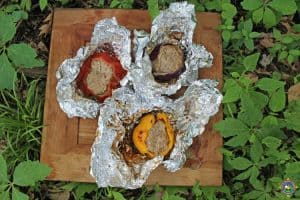 Campfire Meatloaf Stuffed Vegetables
