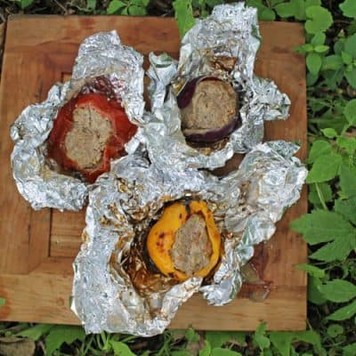 Campfire Meatloaf Stuffed Vegetables