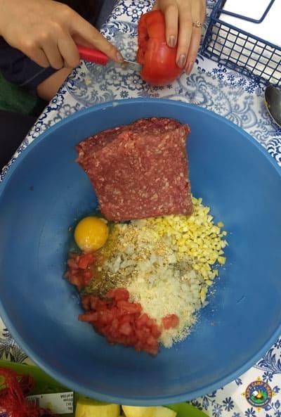 mix meatloaf ingredients and cut vegetables