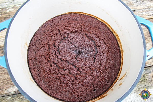 brownies made in a enamel dutch oven
