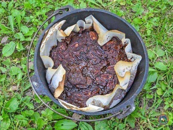 Caramel Turtle Dump Cake in a Dutch Oven