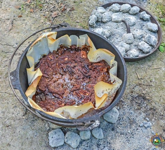 Dump Cake in Dutch Oven with Coals