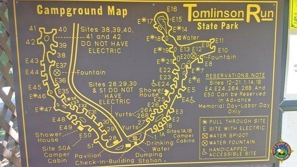 Tomlinson Run Campground Map