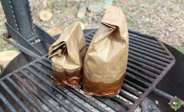 breakfast in a bag cooking over a campfire