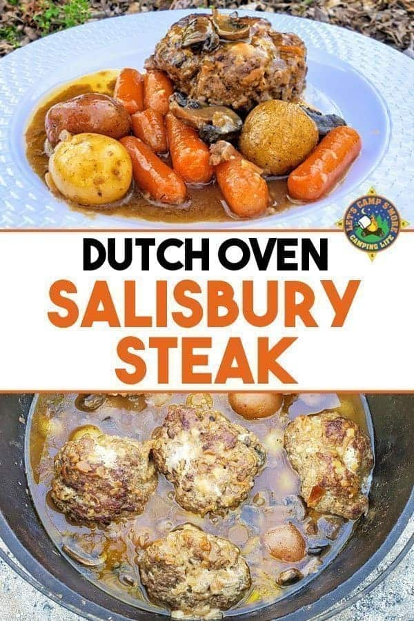 Dutch Oven Salisbury Steak Recipe - Looking for a hearty camping recipe? Make this easy Dutch Oven Salisbury Steak with mushrooms recipe on your next trip or make it at home in a slow cooker.