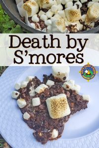 Death by S'mores Recipe - Do you love smores? This Death by S'mores recipe is made in the Dutch oven while camping or in the regular oven at home. It's the ultimate s'more recipe!
