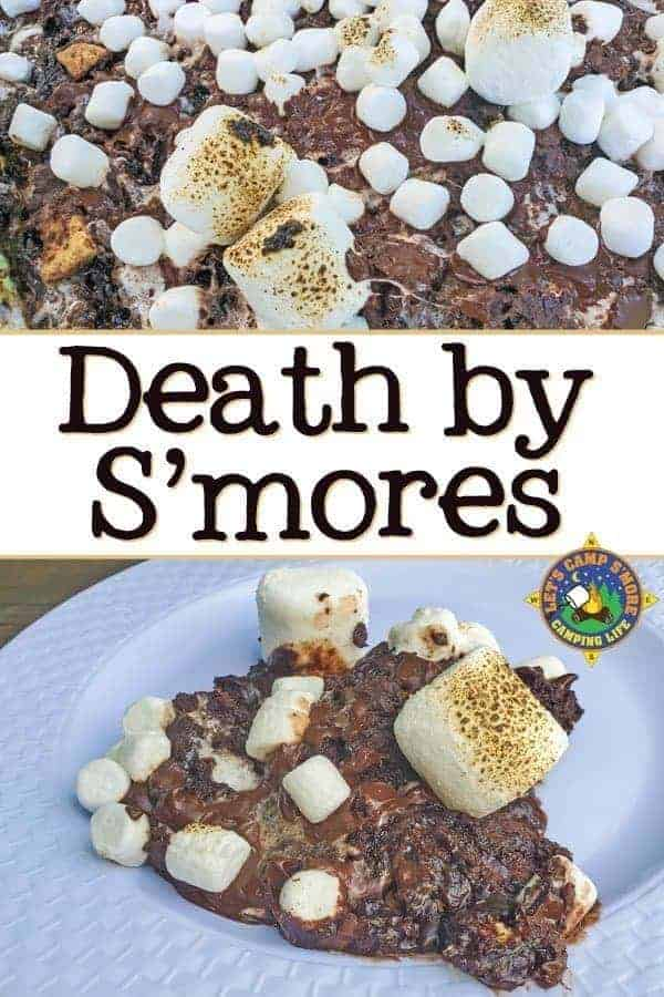 Death by S'mores Recipe - Do you love smores? This Death by S'mores recipe is made in the Dutch oven while camping or in the regular oven at home. It's the ultimate s'more recipe! #smores #smoresrecipe #LetsCampSmore #dutchoven