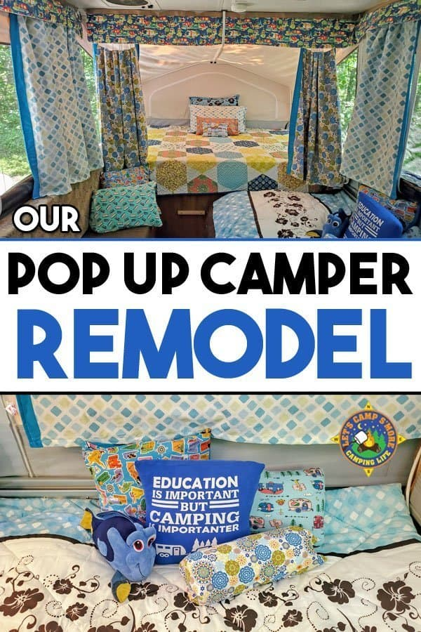 Our Pop Up Camper Remodel - I gave our pop up trailer a cute new look with this simple makeover. Only simple sewing skills are needed for this pop up camper remodel.