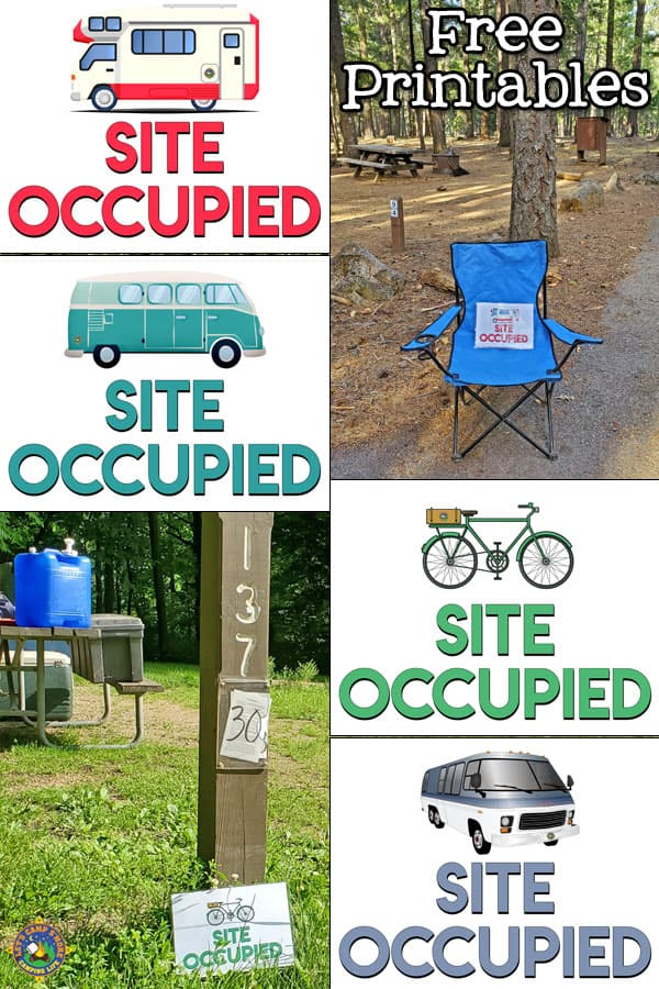 collage of the free campsite taken signs