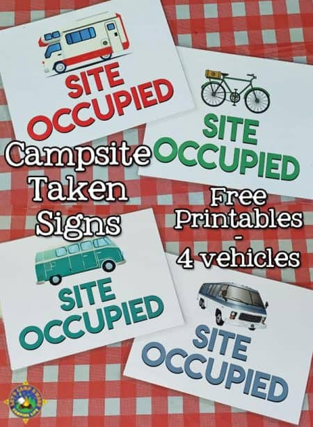 4 site occupied signs for camping