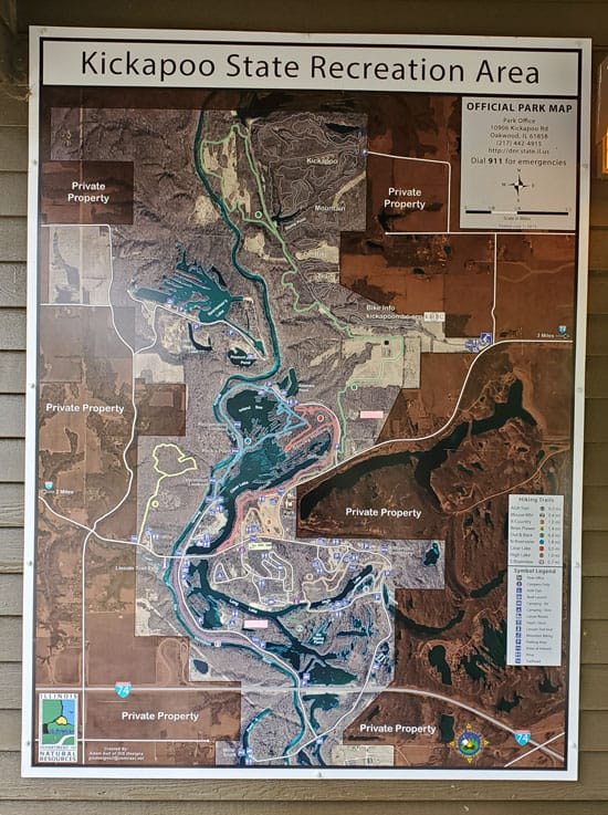 Kickapoo State Recreation Area Aerial Map