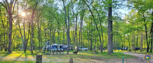 Sunset at Kickapoo State Recreation Area Campground in Illinois