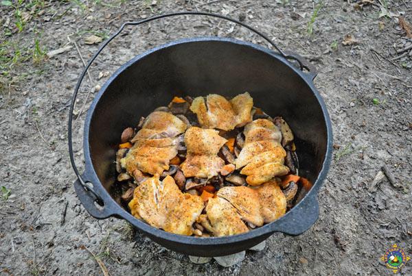 dutch oven chicken over veggies