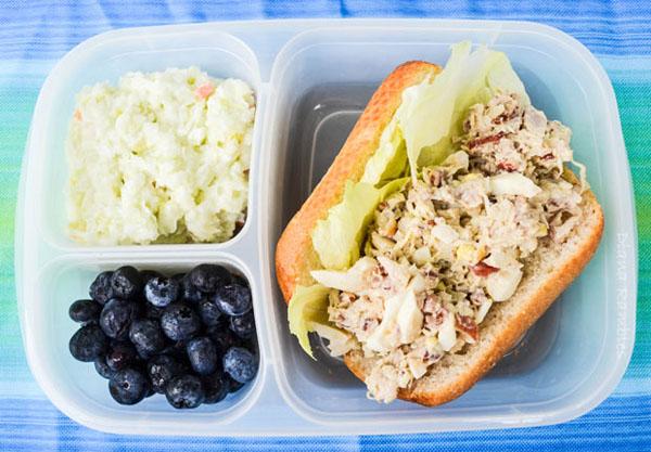 lunch with a rotisserie chicken salad sandwich