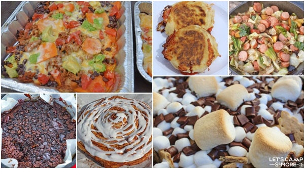 collage with 6 recipes that are part of an easy weekend camping menu