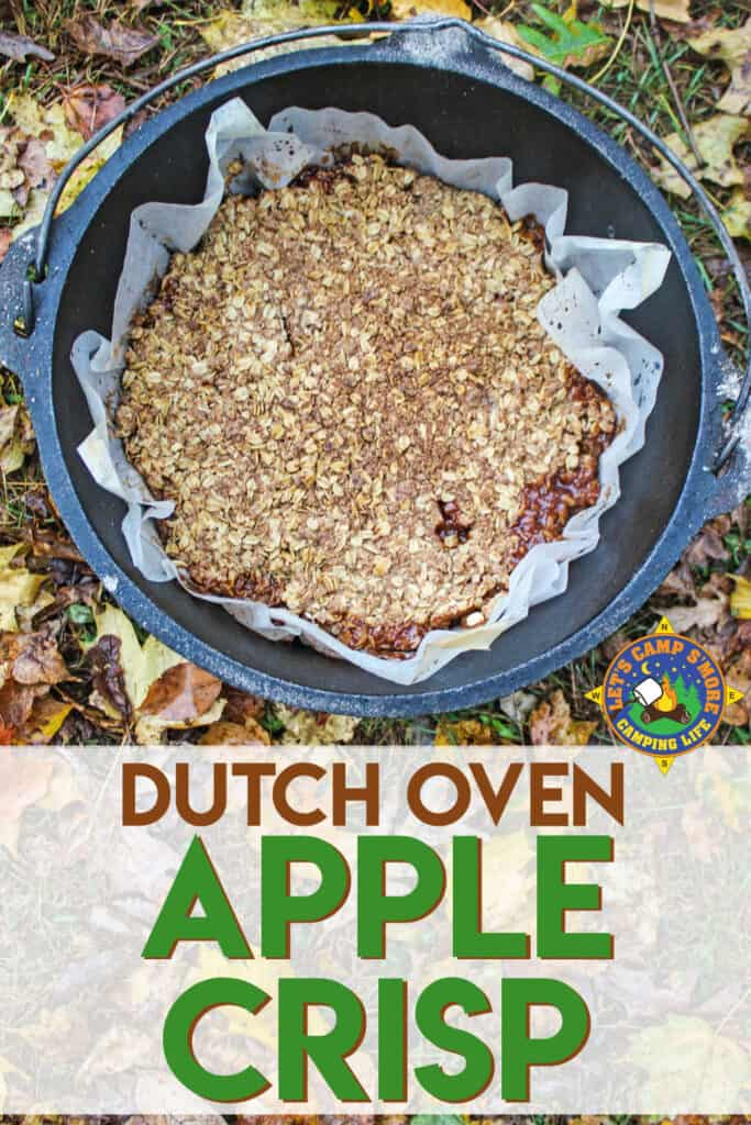 Dutch oven apple crisp dessert with text on the image