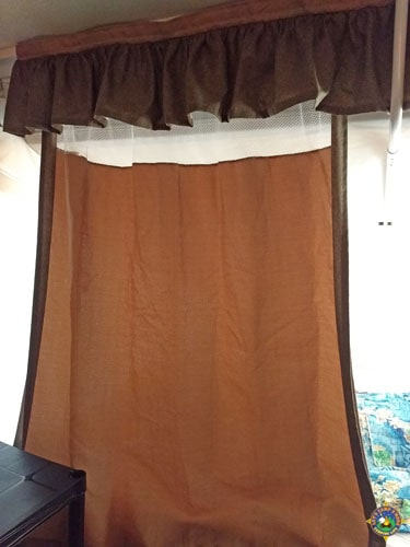 brown curtain panel