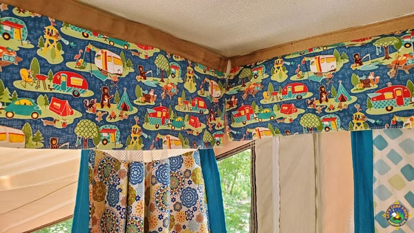 close up of camper valance