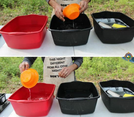 collage of how to wash camping dishes