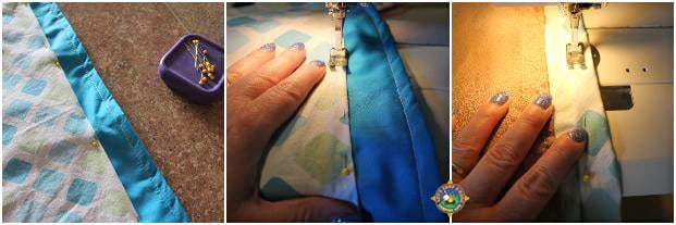 collage of curtains being sewn