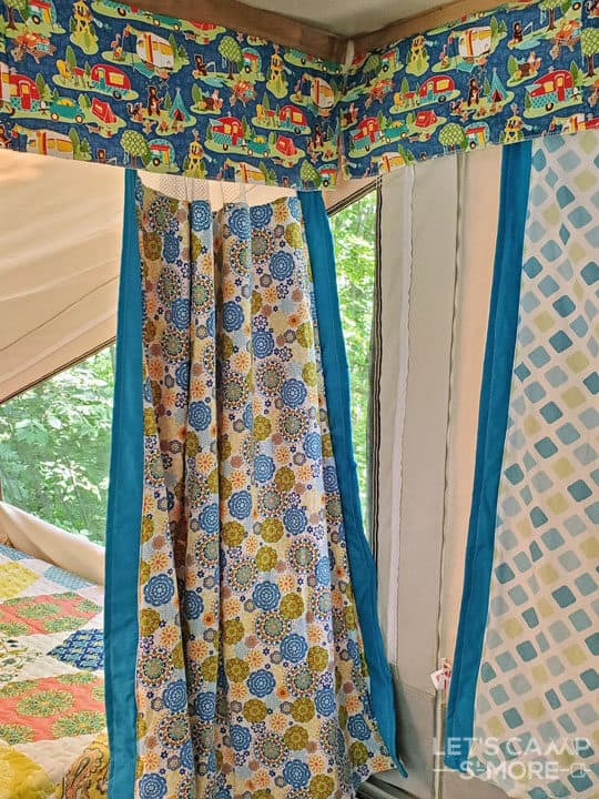 curtains in a pop up camper