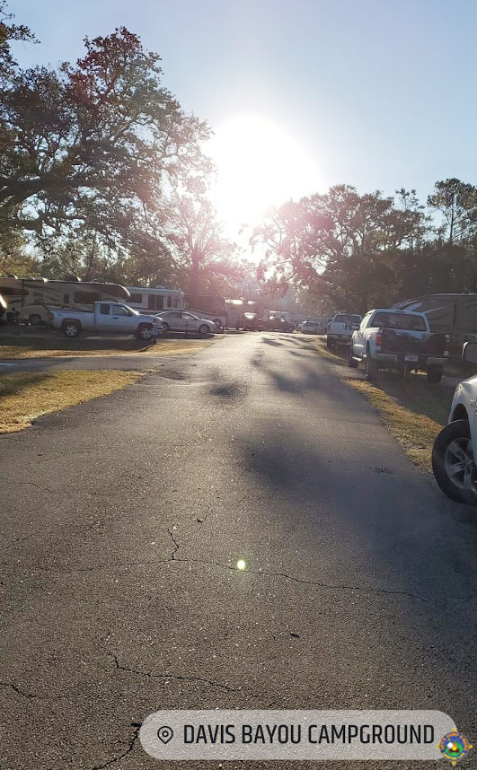 a view of several campsites at the Davis Bayou Campground