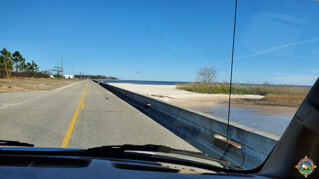 Driving along Beach Boulevard along the Gulf of Mexico in Waveland, Mississippi