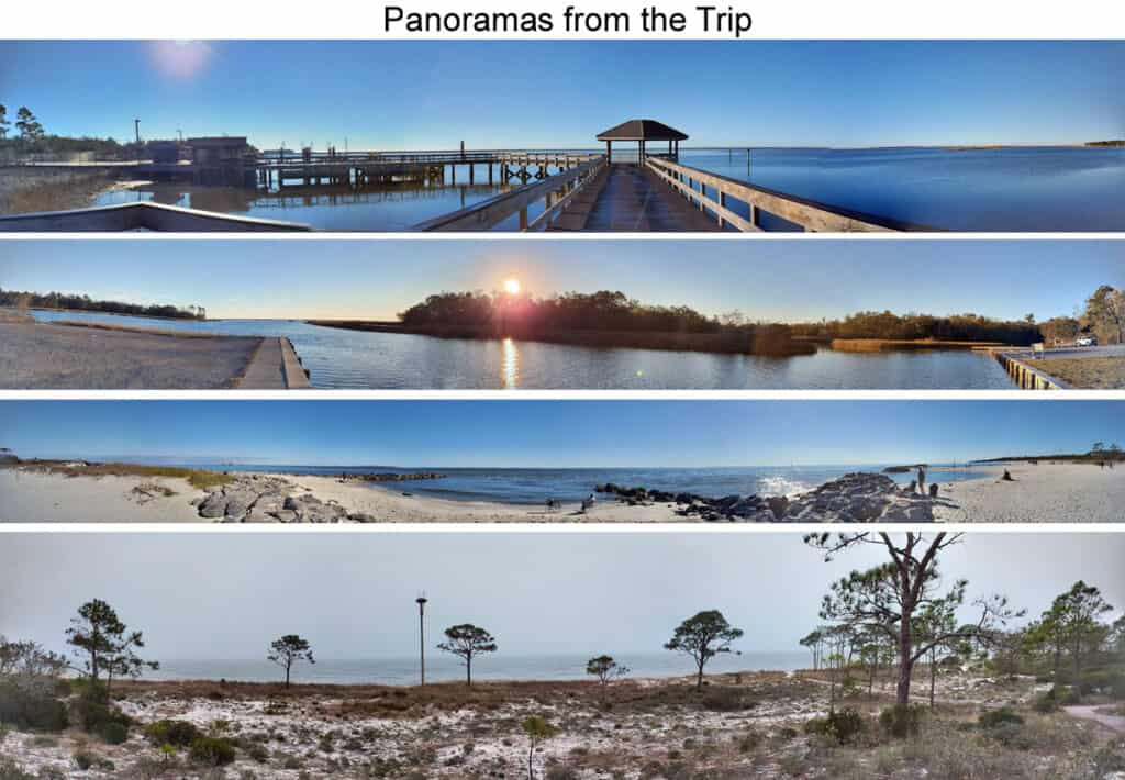 panorama collage from the best Gulf Coast RV Parks in Alabama and Mississippi