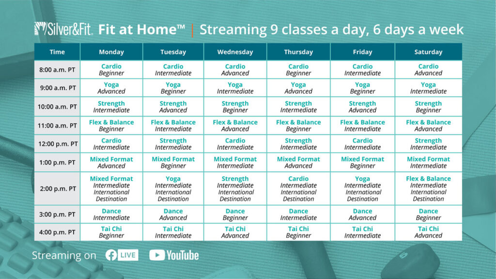 fitness class schedule from Silver & Fit