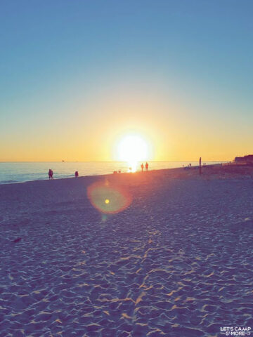 gorgeous sunset over the beach near Dauphin Island Campground