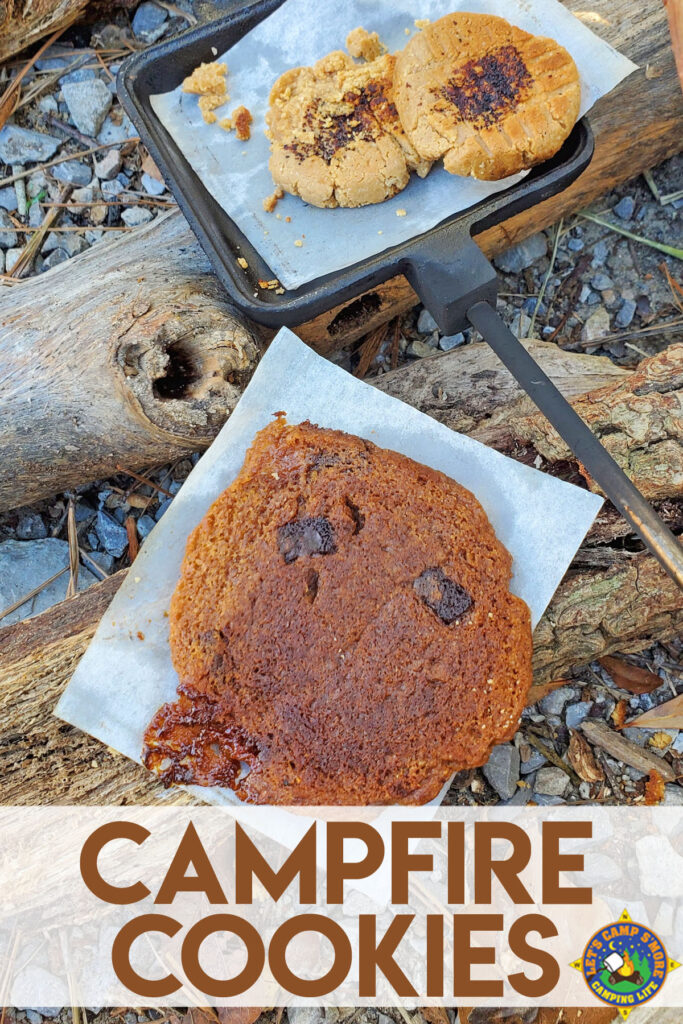 3 campfire cookies baked over a fire while camping