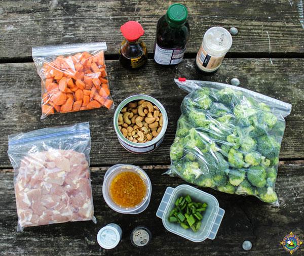 ingredients for camping stir fry