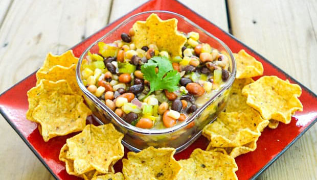 sweet texas caviar with corn tortilla chips