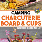 collage of a picnic charcuterie board and cups
