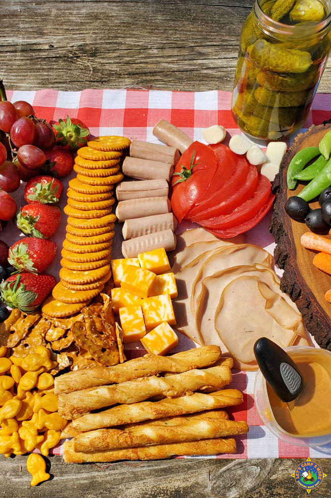 close up of foods on a picnic charcuterie board
