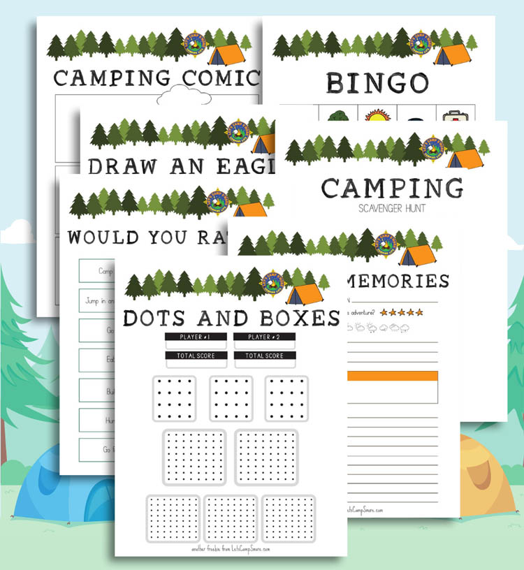 collage of free kids camping printables