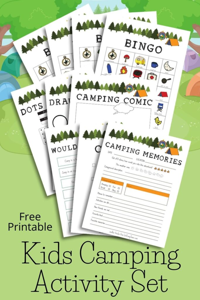 Kids Camping Activity Set collage