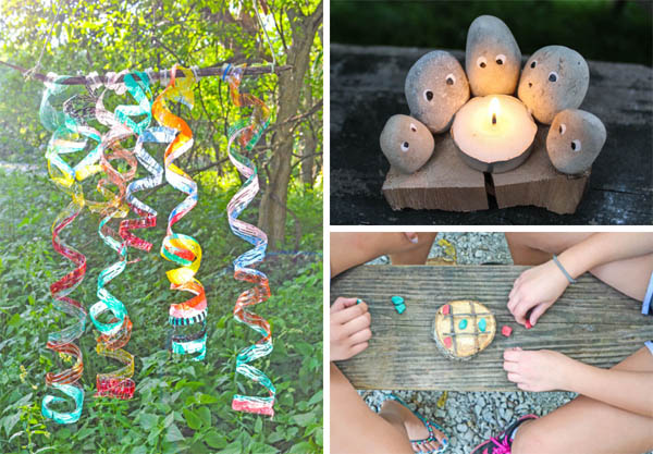 collage of kids camping crafts