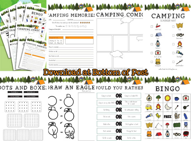 pages in the kids camping activity pack