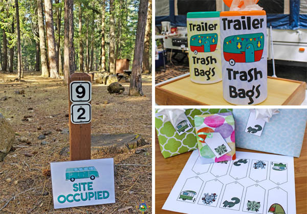 collage of free camping printables