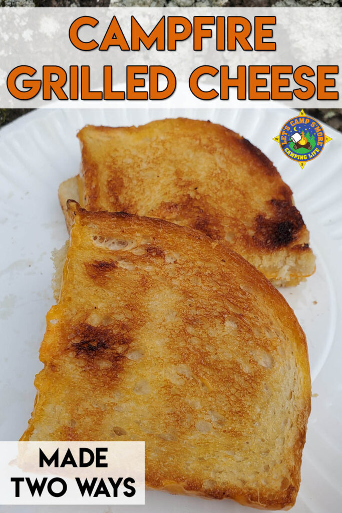 close up of 2 cast iron grilled cheese sandwiches