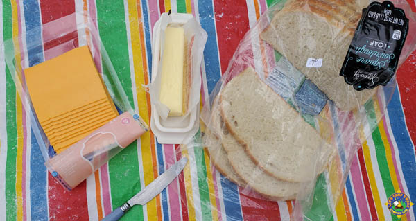 ingredients for a cast iron grilled cheese
