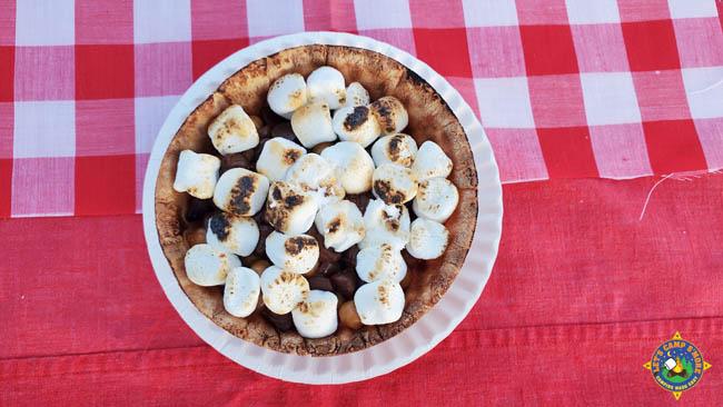 S'more banana waffle bowl camping dessert