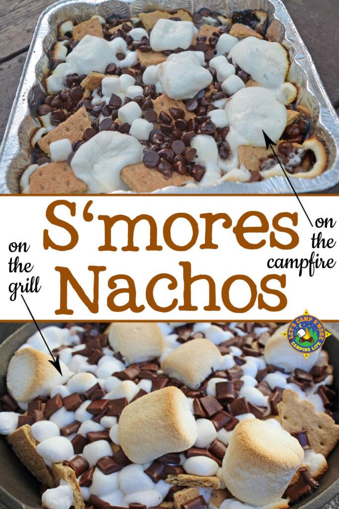 collage of s'more nachos