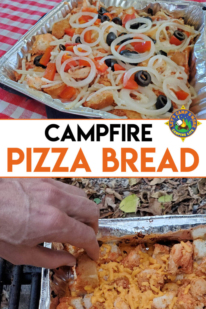 collage of camping pizza bread in a foil pan