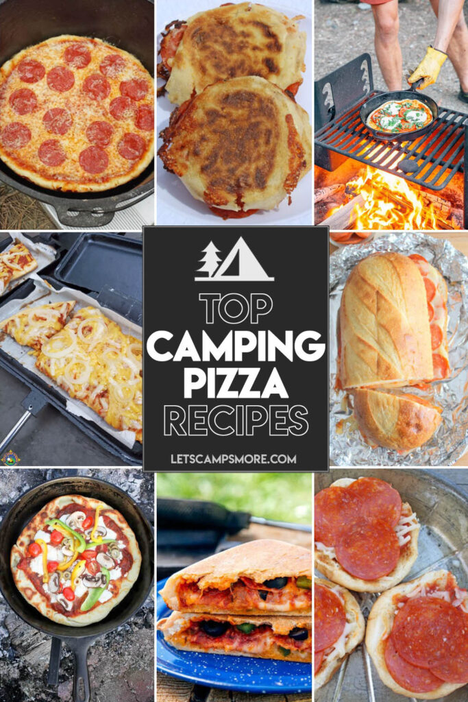 collage of different campfire pizza recipes