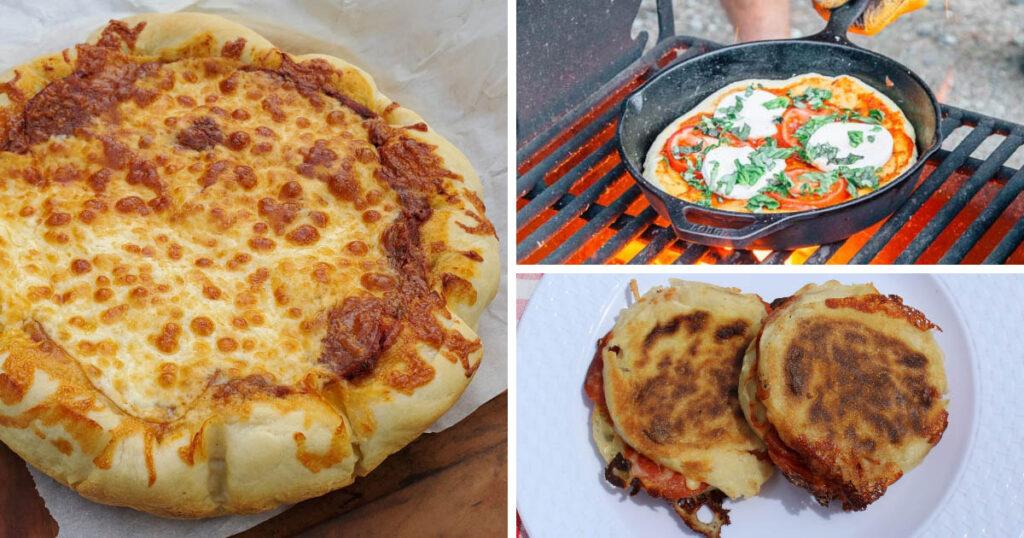3 campfire pizzas