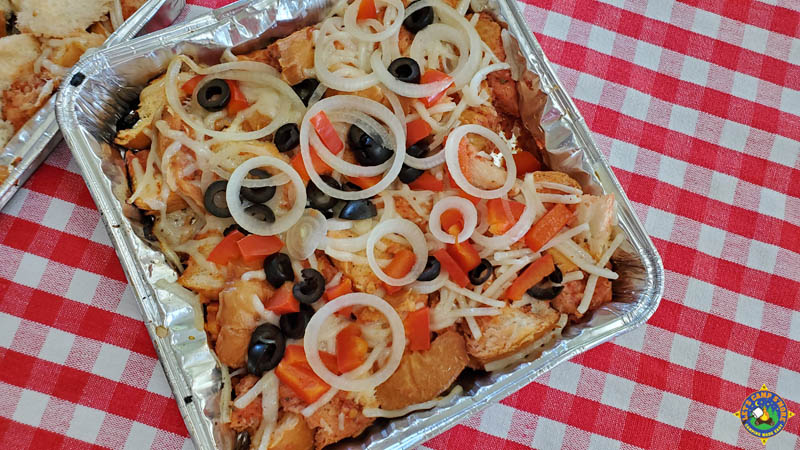 pan of vegetarian pizza bread made in a foil pan