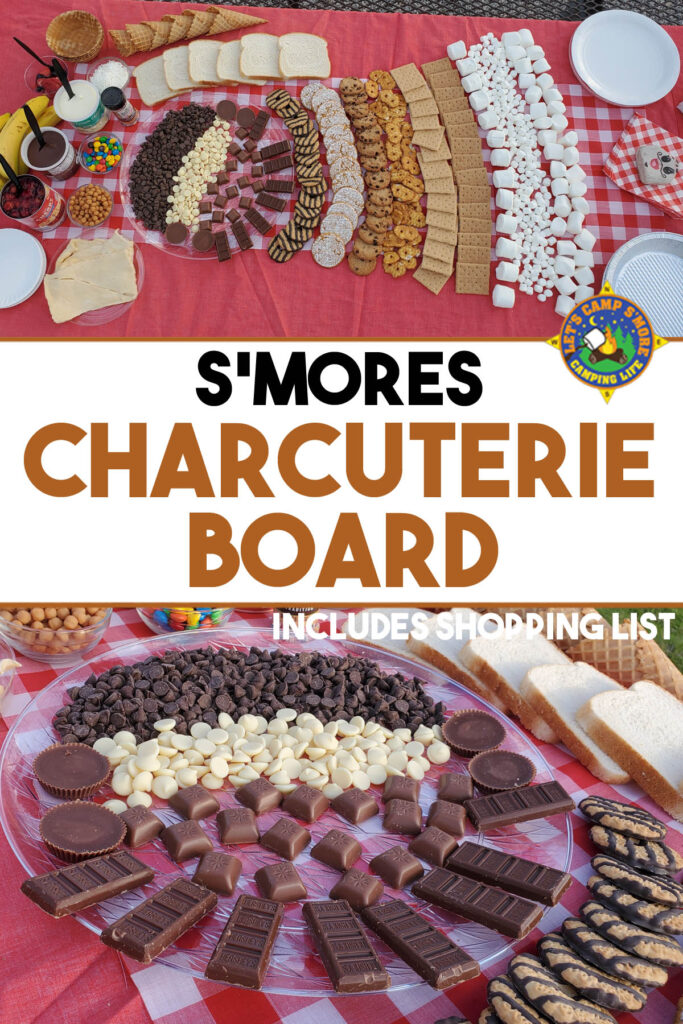 collage of a s'mores charcuterie board